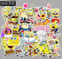 50Pcs/Lot SpongeBob SquarePants Waterproof Sticker For Kids Toy Luggage Skateboard Phone On Laptop Moto Bicycle Wall Guitar