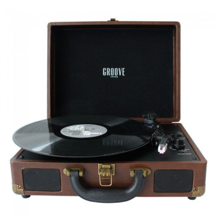 Groove Sound - Portable Record Player - Brown