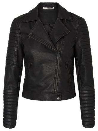 NOISY MAY Imitation Leather Jacket Women Black