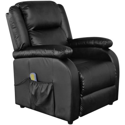 vidaXL Elektrisk massagefåtölj justerbar konstläder svart