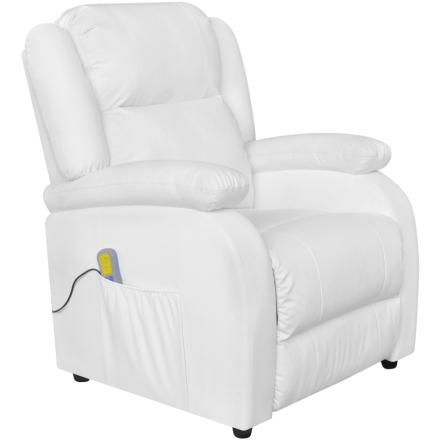 vidaXL Elektrisk massagefåtölj justerbar konstläder vit
