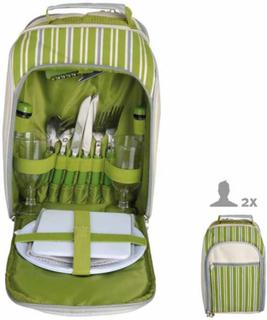 Esschert Design picnickøletaske EL054 til 2 personer, med striber