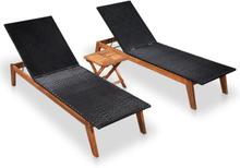 vidaXL Solsängar 2 st med bord konstrotting och massivt akaciaträ