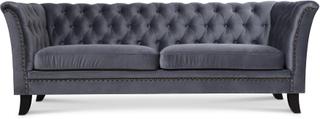Milton Chesterfield 3-sits soffa - Grå sammet