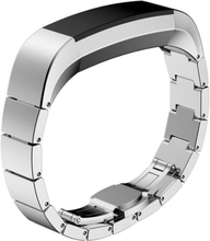 Solid Link stainless steel butterfly lock watch strap for Fitbit Alta - Silver