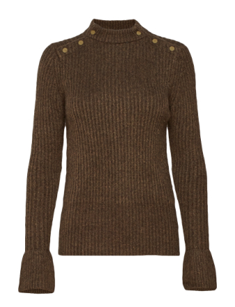 Cosy Pullover Knit With Tonal Press Buttons At Shoulders