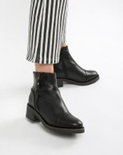Aldo leather flat ankle boots - Black leather