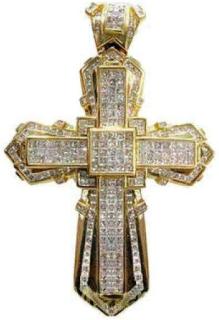 Hängsmycke Äkta guld och diamant kors 11.00 ct