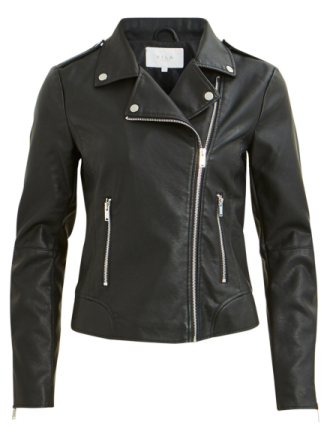 VILA Biker Look Faux Leather Jacket Women Black