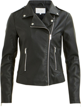 VILA Biker Look Faux Leather Jacket Women Black