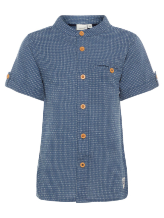 NAME IT Mini Short Sleeved China Collar Shirt Men Blue