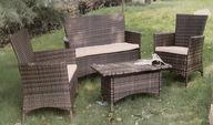 Polyrottinkinen puutarhakaluste -setti, 2x tuoli + sohva + pöytä