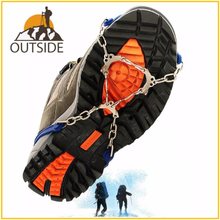 2pcs 6-Teeth 3 Color Anti-Slip Ice Gripper Cleats Shoe Boot Grips Crampon Chain Spike Snow for Hiking Climbing Outdoor Sport