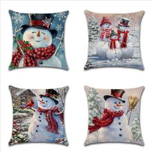 Weihnachten Schneemann Druck Baumwolle Leinen Kissenbezug Home Dekorative Kissenbezug