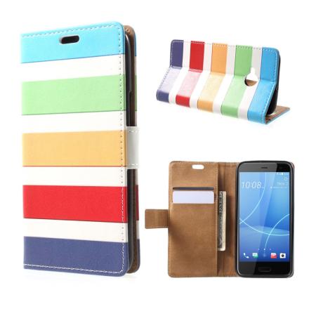 HTC U11 Life Etui laget av kunstlær og silikon - Farge striper