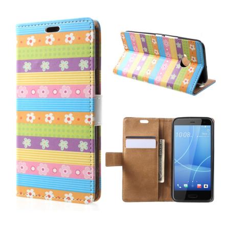 HTC U11 Life Etui laget av kunstlær og silikon - Striper og blomster