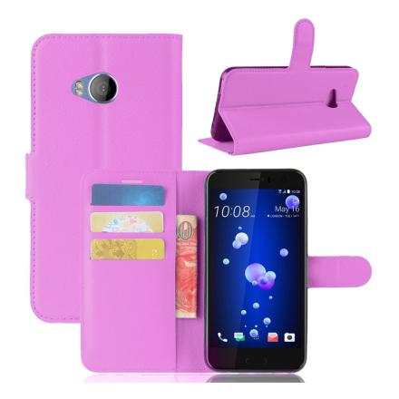 HTC U11 Life Etui laget av kunstlær og silikon - Lilla