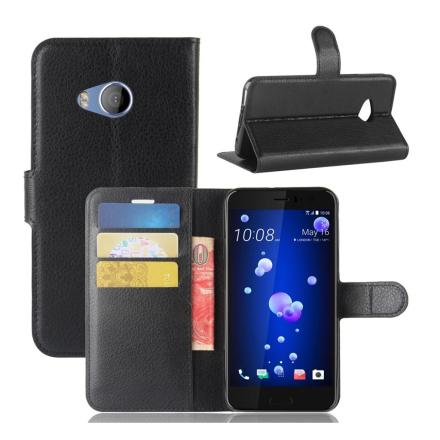 HTC U11 Life Etui laget av kunstlær og silikon - Svart