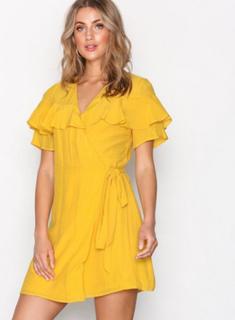 Glamorous Wrap Flounce Dress Loose fit dresses Mustard