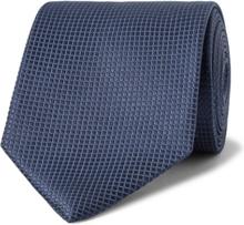 8cm Textured-silk Tie - Storm blue
