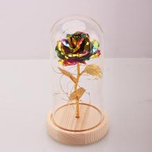 Valentinstag Geschenk Dekorationen Verzauberte konservierte rote frische Rose Glas Cover + LED Light