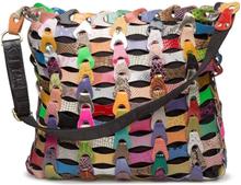 Style Annabella skuldertaske i skind i smuk flettet multifarvet variant. - Annabella