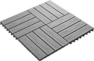 vidaXL Trall 11 st djupt mönster WPC 30x30 cm 1 kvm grå
