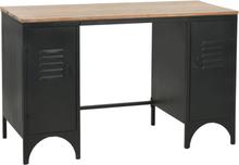 vidaXL Kirjoituspöytä kahdella kaapilla kuusipuu ja teräs 120x50x76 cm