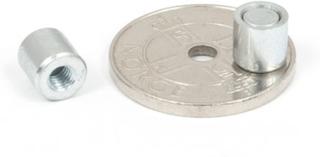 Mini magnet Ø 6 x 6 mm med innvendig gjenge M3