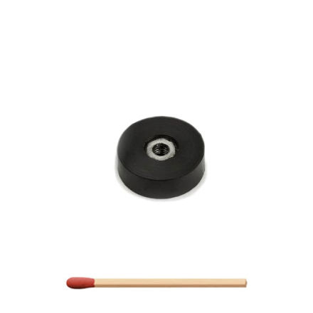 Gummibelagt neodym magnet Ø 20 x 6 mm   Innvendig gjenge M4