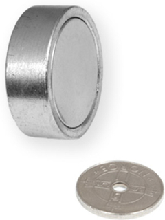 Pot magnet Ø 29 mm med innvendig gjenge | Løfter opptil 35kg | Forsterket
