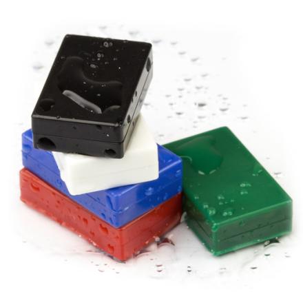 Sett med 5 kraftige plastbelagte blokk neodym magneter   Magnet styrke 5,5 kg