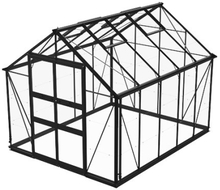 Växthus Odla 8,2 m²-Svart-Glas