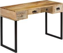 vidaXL Kirjoituspöytä kiinteä mangopuu ja aito nahka 117x50x76 cm