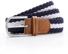 Two colour stripe braid stretch belt Navy/White