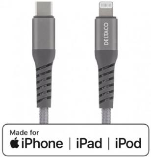 DELTACO USB-C till Lightning 1m Tygbeklädd, USB 2.0, Rymdgrå