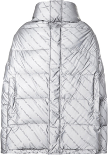 Oversized Printed Quilted Shell Down Jacket - Gray