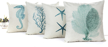 1 STÜCK Blue Sea House Seestern Baumwolle Leinen Kissenbezug Quadrat Soft Dekorative Dekokissenbezug Kissenbezug