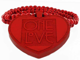 Trähalsband One Love Red