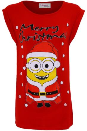 Damer Olaf frosne Minion glædelig jul XMAS festlige Women's Top T-S... - Fruugo