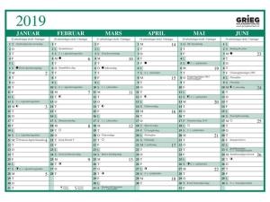 Platekalender GRIEG A4 enkel 2019
