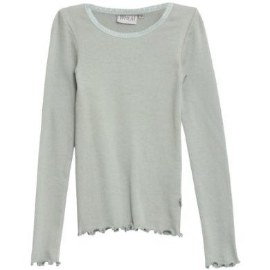 WHEAT Rib Shirt Lace LS slategrey - grøn - Gr.fra 3 år - Pige - pinkorblue