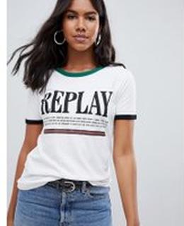 Replay - Replay - Randig t-shirt - Vit