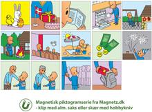 Magnetiske piktogrammer i farver, 54 stk.
