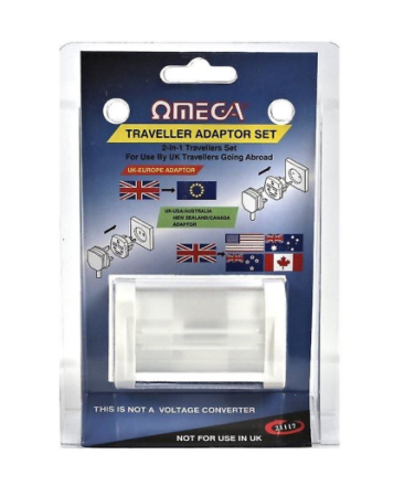 Rajani Omega 2 i 1 reise adapter Set konvertere UK 3 feste til verd...