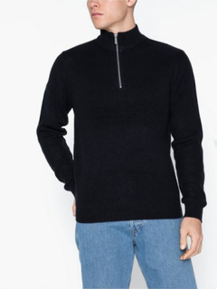 Topman Textured Zip Neck Jumper Trøjer Navy Blue