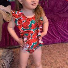 baby girl one piece swimwear watermelon print ruffle kids bikini beach suit swimsuit children bathing suits