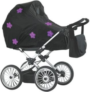 Baby Dan regnslag til barnevogne sort blomster