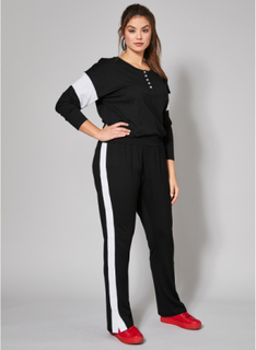 Sweatpants med sidestriper og trykknapper Angel of Style Svart