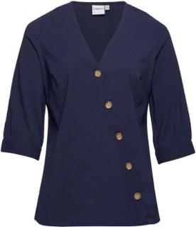 Jrabine 3/4 Sleeve Shirt - K Bluse Langærmet Blå JunaRose